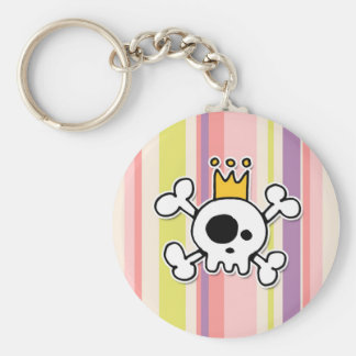 crowned skull basic round button keychain