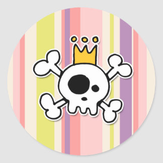 crowned skull classic round sticker