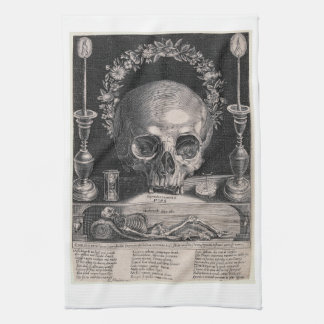 crowned skull kitchen towel