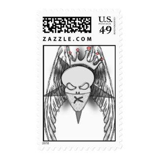 Crowned Skull & Wings Postage Stamp