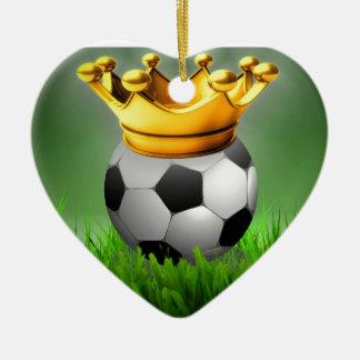 Crowned Soccer Ceramic Ornament