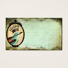 Crowned Vintage Bird Business Card Template at Zazzle