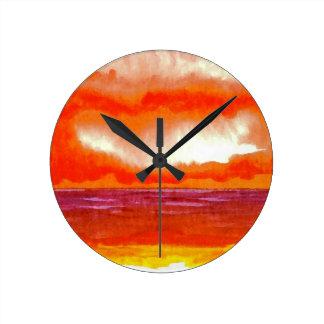Crowning Glory Ocean Sunset Sunrise Seascape Round Clock