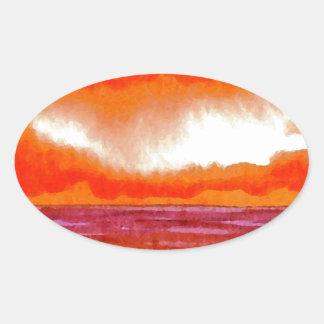 Crowning Glory Ocean Sunset Sunrise Seascape Oval Stickers