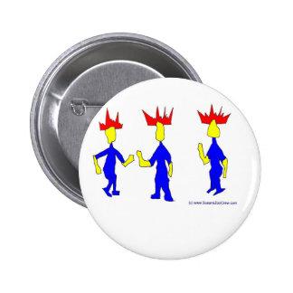 CrownmenThreeMeetRedYellowBlue Pinback Button