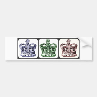 CROWNS WITH FLEUR DE LIS AND CROSSES COLLAGE PRINT BUMPER STICKER