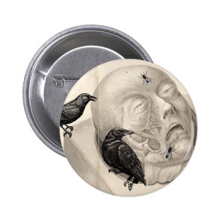 Crows and corpse pinback button