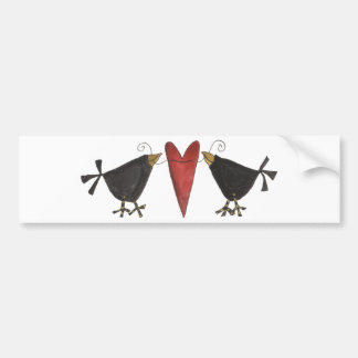 Crows and Heart Bumper Sticker
