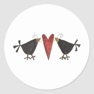Crows and Heart Classic Round Sticker