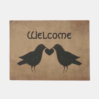 Crows And Heart Welcome Door Mat