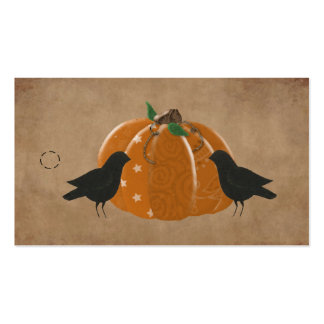 Crows and Pumpkin Primitive Hang Tag Business Card