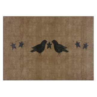 Crows And Stars Glass Cutting Board