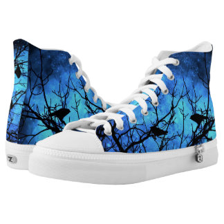 Crows-Attempted Murder Blue Nebula Hightop ZIPZ Printed Shoes