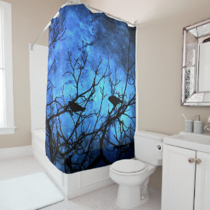 Crows Attempted Murder Blue Skies Shower Curtain