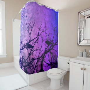 Crows Attempted Murder Pink Skies Shower Curtain