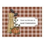Crows Cornstalks Pumpkin Autumn Recipe Cards Postcard