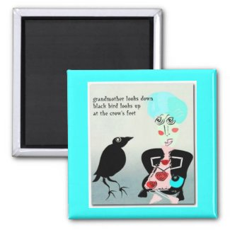 Crow's Feet Haiku Art Magnet magnet