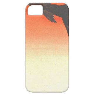 Crows Fly by Red Sky at Sunset by Shibata Zeshin iPhone SE/5/5s Case