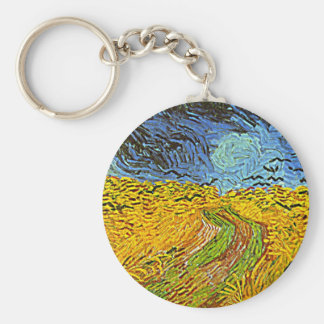 Crows in a Wheatfield Keychains