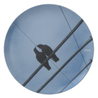 Crows in Luv Melamine Plate