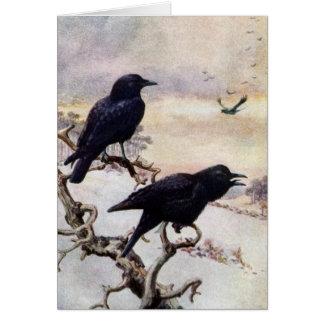 Crows in Winter Vintage Illustration Card