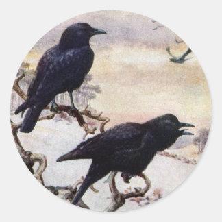Crows in Winter Vintage Illustration Classic Round Sticker