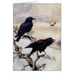 Crows in Winter Vintage Illustration Greeting Card