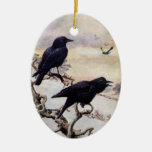 Crows in Winter Vintage Illustration Ornaments