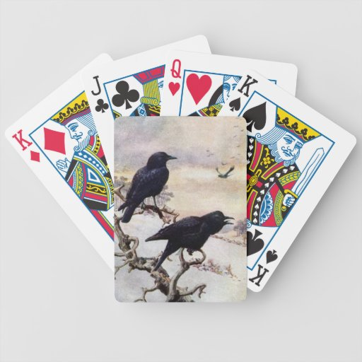 Crows in Winter Vintage Illustration Bicycle Playing Cards