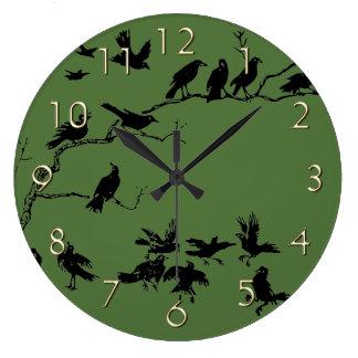 Crows Large Clock