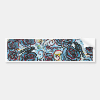 Crows on Blue Roses Bumper Sticker