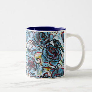 Crows on Blue Roses Two-Tone Coffee Mug