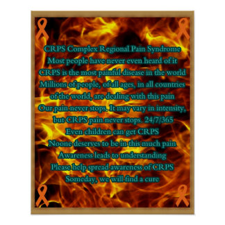 CRPS Awareness poster with printed frame design on