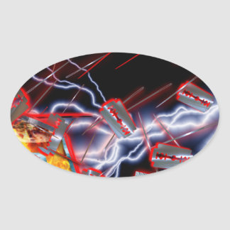 CRPS Razor blades & needles Oval Sticker