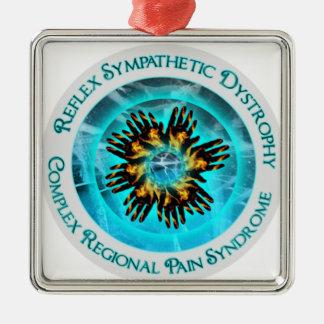 CRPS RSD Awareness Blazing Hand Starburst Circlet Metal Ornament