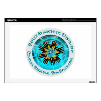 "CRPS RSD Awareness Blazing Hand Starburst Circlet Decals For 17"" Laptops"