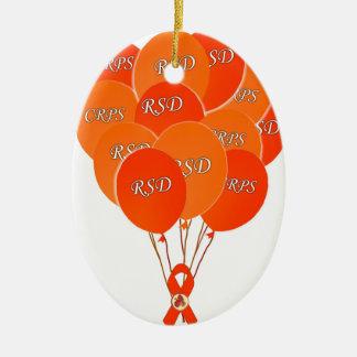 CRPS RSD Balloons Hope Over Pain Phoenix Ribbon Ceramic Ornament