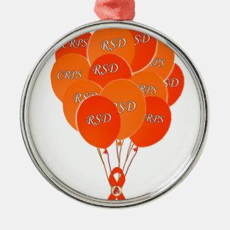 CRPS RSD Balloons Hope Over Pain Phoenix Ribbon Metal Ornament