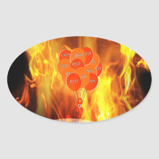 CRPS RSD Balloons Hope Over Pain Phoenix Ribbon Oval Sticker