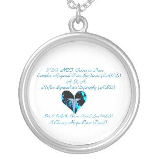 CRPS RSD Blue Heart I Choose Hope Over Pain Neckla Round Pendant Necklace