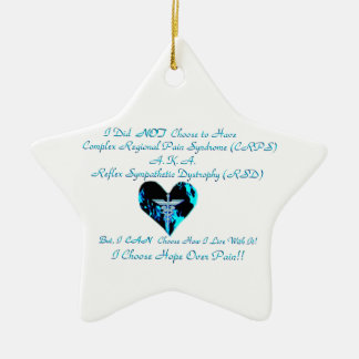 CRPS / RSD Blue Heart of Flame Hope Courage Star O Ceramic Ornament