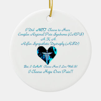 CRPS / RSD Blue Heart of Flame Hope Courage Streng Ceramic Ornament