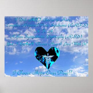 CRPS RSD elijo esperanza sobre el cielo azul y Clo Poster