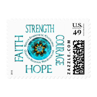 CRPS RSD Faith Courage Strength Hope Blazing Hands Postage Stamp