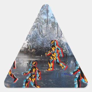 CRPS RSD FIre & Ice FIgures on Frozen NC Landcape Triangle Sticker