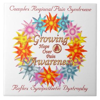 CRPS RSD Growing Awareness Hope Over Pain Phoenix Large Square Tile