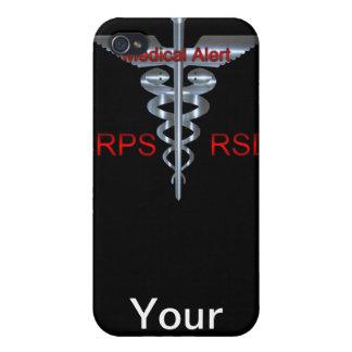CRPS RSD Medical Alert Caduceus Staff & Snakes Case For iPhone 4