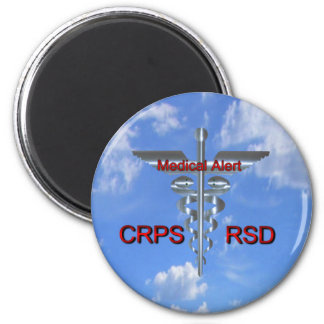 CRPS RSD  Medical Alert Silvear Asclepius Caduceus 2 Inch Round Magnet
