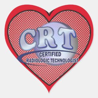 CRT CERTIFIED RADIOLOGIC TECHNOLOGIST  BLUE LOGO HEART STICKER