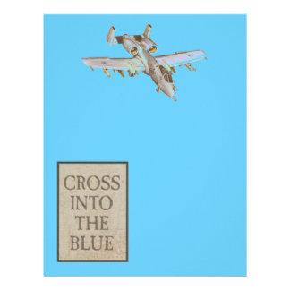 Cruce en el avión azul Scrapbooking de la fuerza a Membretes Personalizados